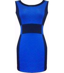 vestido geometrico sarab /azul y negro