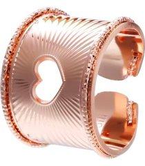 anello cuore a fascia in bronzo rosato per donna
