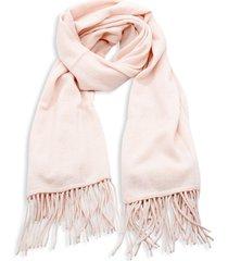 portolano women's fringe-trim cashmere wrap scarf - pink