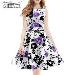 2017 new fashion summer dresses elegant sleeveless printing casual dress classic