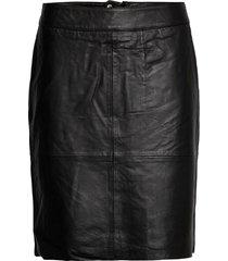 cuberta leather skirt knälång kjol svart culture