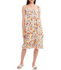 bcbgeneration floral-print smocked woven midi dress