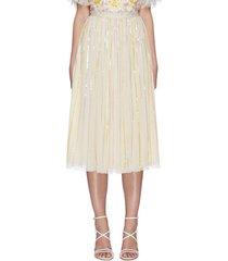 'chakra' rainbow sequin embellished tulle midaxi skirt
