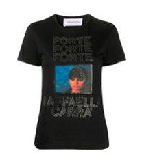 16arlington camiseta com aplicação gráfica de cristais - preto
