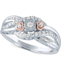 diamond promise ring (1/4 ct. t.w.) in sterling silver & 14k rose gold-plate