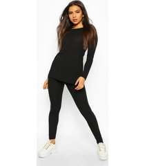 geribbelde long line top en leggings set, zwart