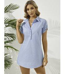 azul denim classic cuello botón delantero mangas cortas mini vestido