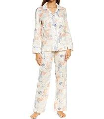 women's the lazy poet emma peking tiger linen pajamas, size small - pink