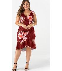 plus talla borgoña estampado floral con cuello en v vestido