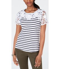 charter club cotton crochet striped top, created for macy's