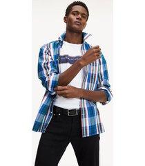 tommy hilfiger men's regular fit check shirt cobalt / emerald green / multi - xs