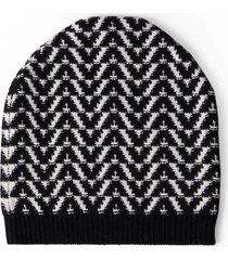 valentino garavani optical logo jacquard wool & cashmere beanie in ivory/black at nordstrom