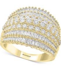 effy diamond baguette multi-row statement ring (1-7/8 ct. t.w.) in 14k gold