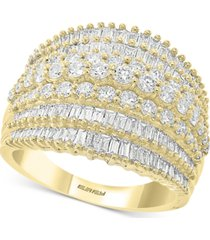 effy diamond baguette multi-row statement ring (1-7/8 ct. t.w.) in 14k gold