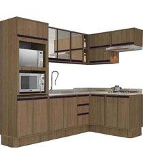 cozinha completa caloma bromélia, nogueira, 9 peças - 190157