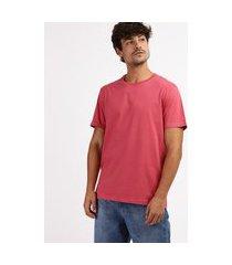 camiseta masculina básica manga curta gola careca rosa escuro