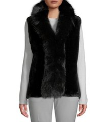 made for generation dyed beaver & fox fur-trim vest