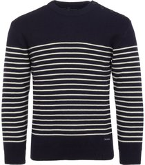 armor lux dumet striped knit jumper in navy blue 5952-429
