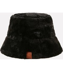 winter faux fur leather label bucket hat