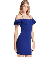 vestido off shoulder charmaine dress azul guess