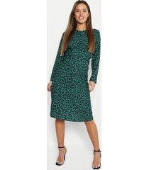 petite woven print plunge knot front dress