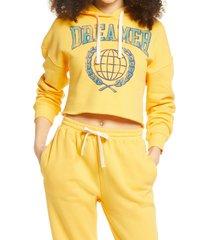 women's bp. cutoff graphic hoodie, size x-large - yellow