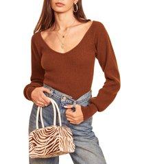 women's reformation hart wide neck sweater, size medium - brown