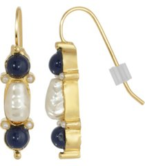 2028 gold-tone imitation pearl and drop earrings