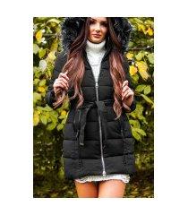 trendy winterjas met riem + afneembare capuchon zwart