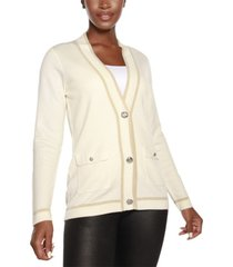 belldini black label button front cardigan with lurex stripe detailing