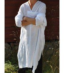 hombres de lino de algodón con cuello en v blusa musulmana suelta larga top loungewear ropa de dormir camiseta