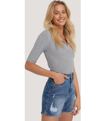 trendyol raw hem denim shorts - blue