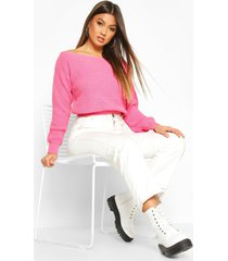 crop slash neck fisherman sweater, pink
