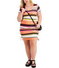 full circle trends trendy plus size striped ruched bodycon dress