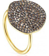 anillo grande nenufar de plata vermeil dorado y diamantes tous
