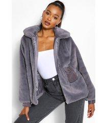 faux fur jas met zak detail, grijs