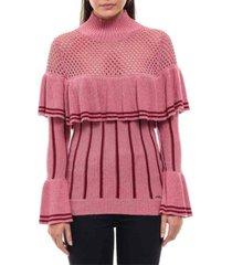 colcci pink ruffled knit sweater