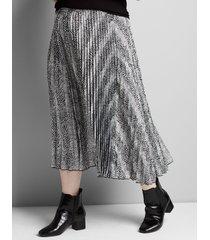 lane bryant women's mixed-print pleated midi skirt 26/28 animal stripe