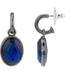2028 black-tone oval drop earrings