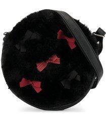 familiar faux fur circle shoulder bag - black