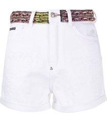 philipp plein rhinestone-embellished denim shorts - white