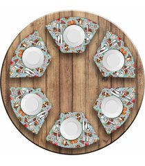 jogo americano love decor para mesa redonda wevans elementos natalinos kit com 6 pçs