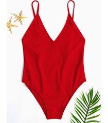 traje de baño de una pieza con diseño sin espalda rojo