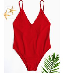 red backless diseño one pieza trajes de baño