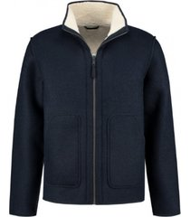 hooded reversible jacket bonded wool dark navy (151018d - 649)