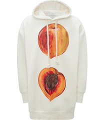 jw anderson oversize peach graphic hoodie, size small - white