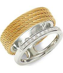 18k white gold, goldtone stainless steel & diamond ring