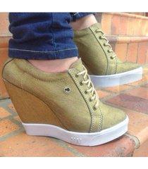 zapatos alicia wonderland seven plataformas dorado