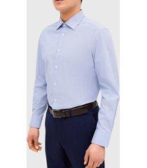 camisa clasicc cuello azul trial