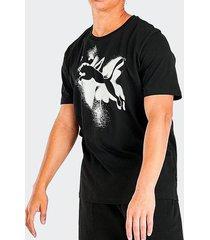 camiseta puma cat basic tee preta masculina